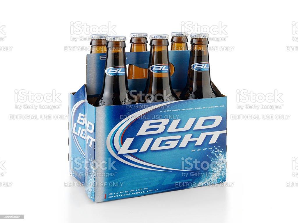 Six Pack Of Bud Light Beer Bottles Stock Photo