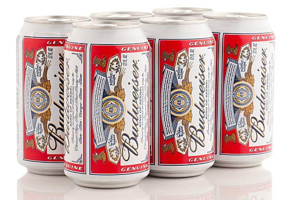 six pack de bière, les brasseries budweiser 12 oz bouteilles - pack de six photos et images de collection