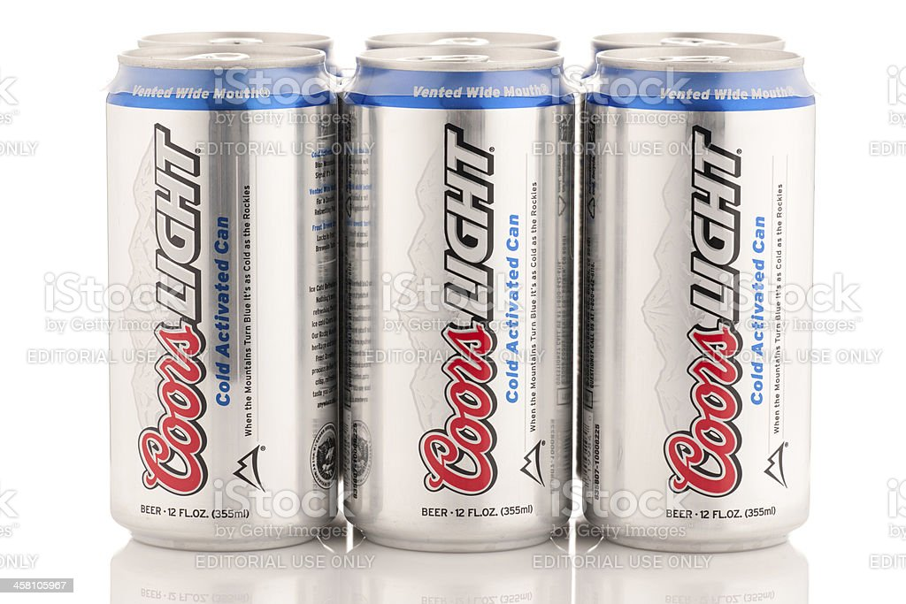Six Pack Of Coors Light Beer Cans 12 Oz Size Stock Photo