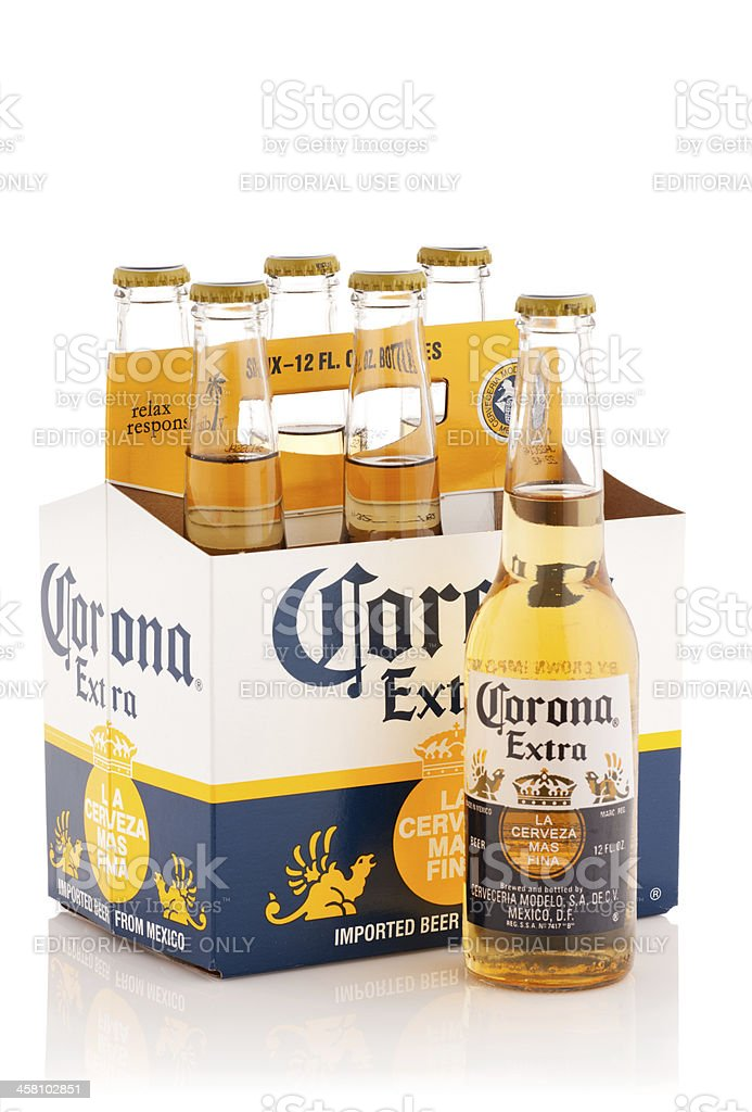 Six pack of Corona Extra Beer, 12 oz bottles stock photo