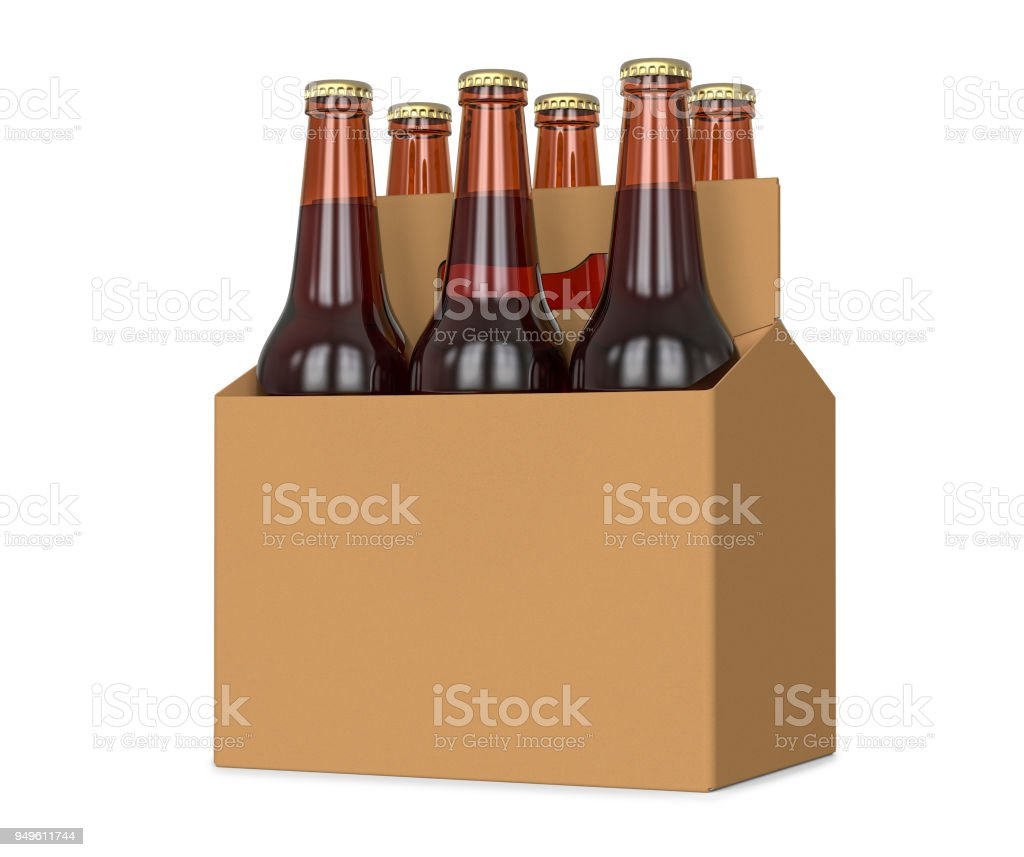 Six pack de bière en bouteille de verre au transporteur en carton brun générique Illustration 3d, isolé sur fond blanc. photo libre de droits
