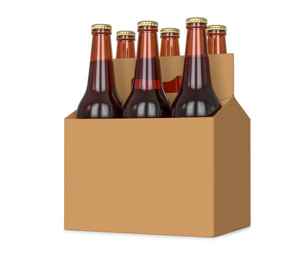 six pack de bière en bouteille de verre au transporteur en carton brun générique illustration 3d, isolé sur fond blanc. - pack de six photos et images de collection
