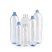 Six diverse new unused blue empty plastic bottles without caps on white background isolated.