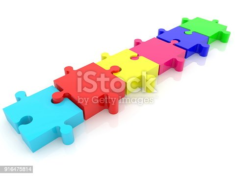 istock Six puzzle pieces in row.3d illustration 916475814