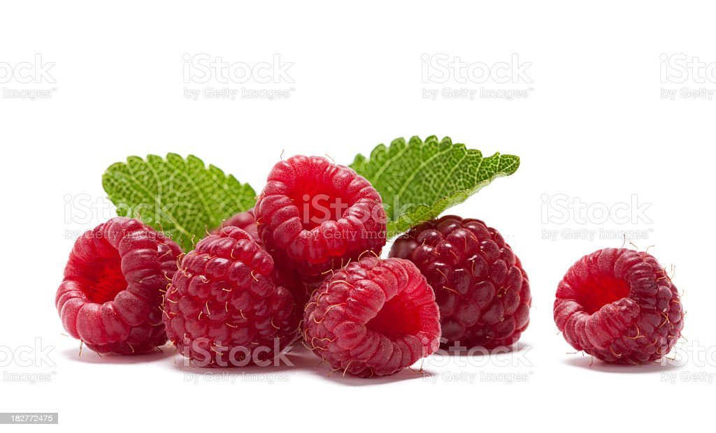 Six raspberries and two leaves royalty-free stock photo