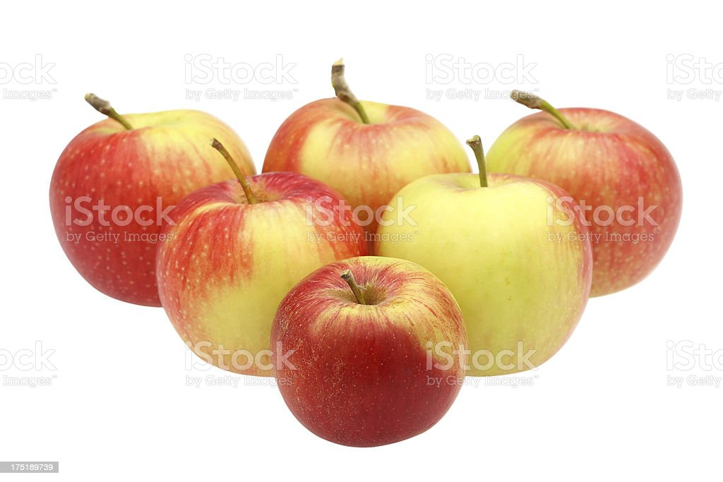 Six red apples isolated on white royalty-free stock photo