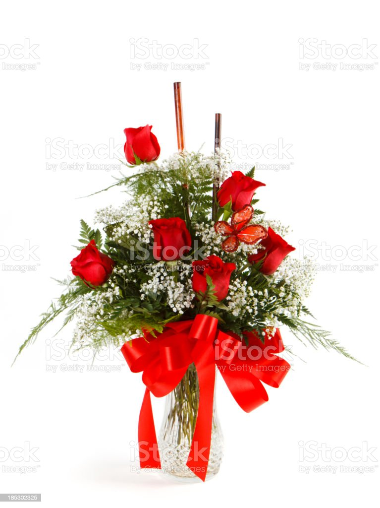 Six Red Roses Arrangement On White stock photo