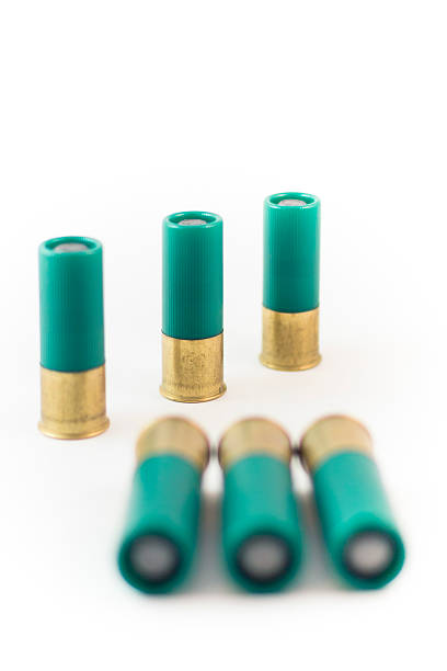 Six Round of Double 00 Shotgun Buck Shot Cartridges stock photo