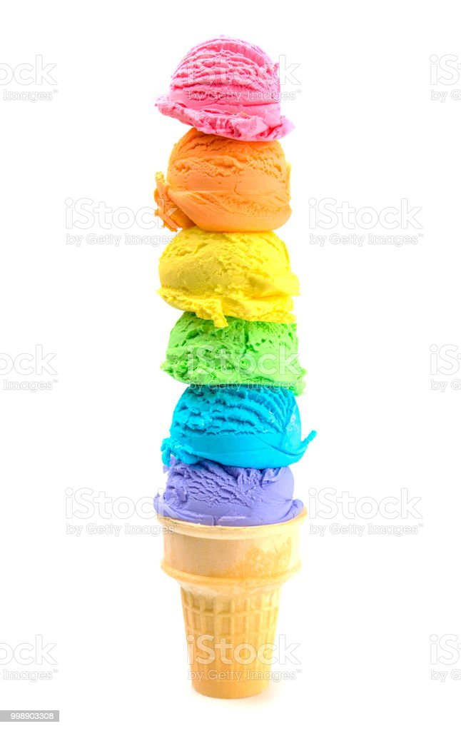 Six Scoops of Rainbow Ice Cream Cone on a White Background stock photo