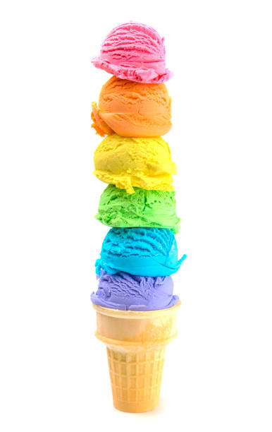 six scoops of rainbow ice cream cone on a white background - big cake stock photos and pictures