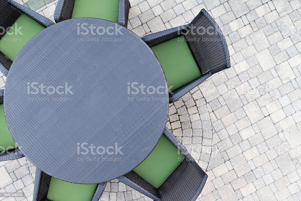 Six seater outdoor patio set stock photo