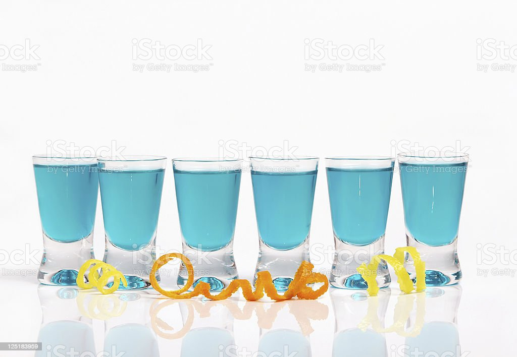 Six short drinks in a row royalty-free stock photo