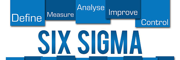 Six Sigma Blue Stripes On Top Six Sigma concept image with text and related elements. leaning stock pictures, royalty-free photos & images