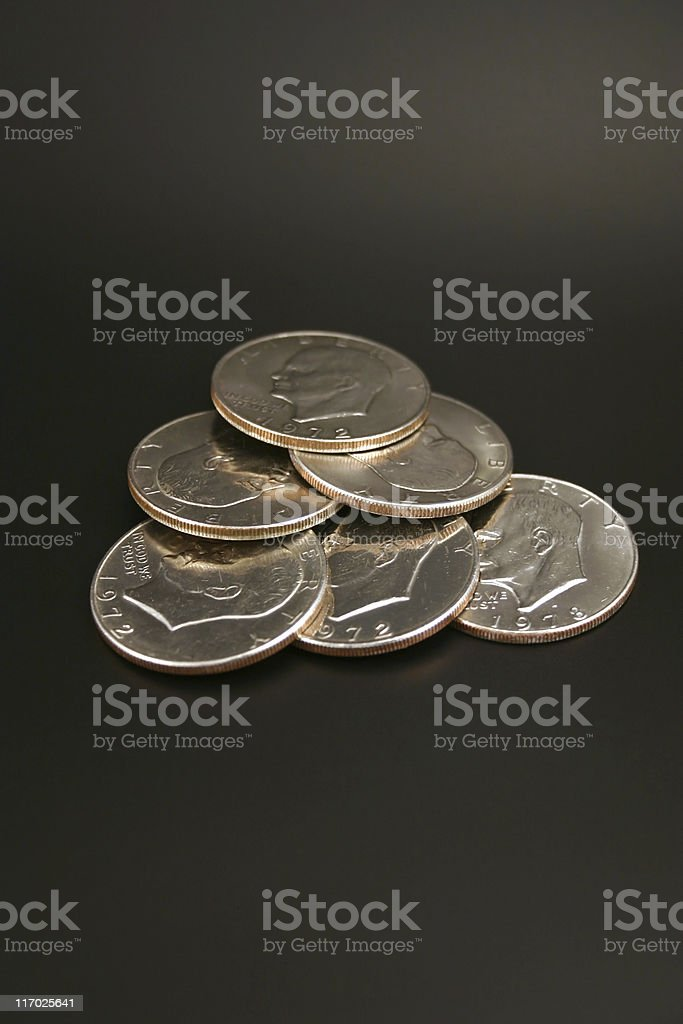 Six Silver Dollars stock photo