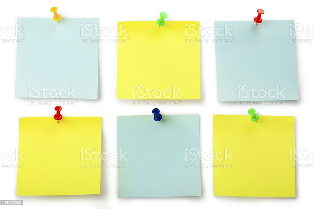 Six stickers for notes with thumbtacks stock photo
