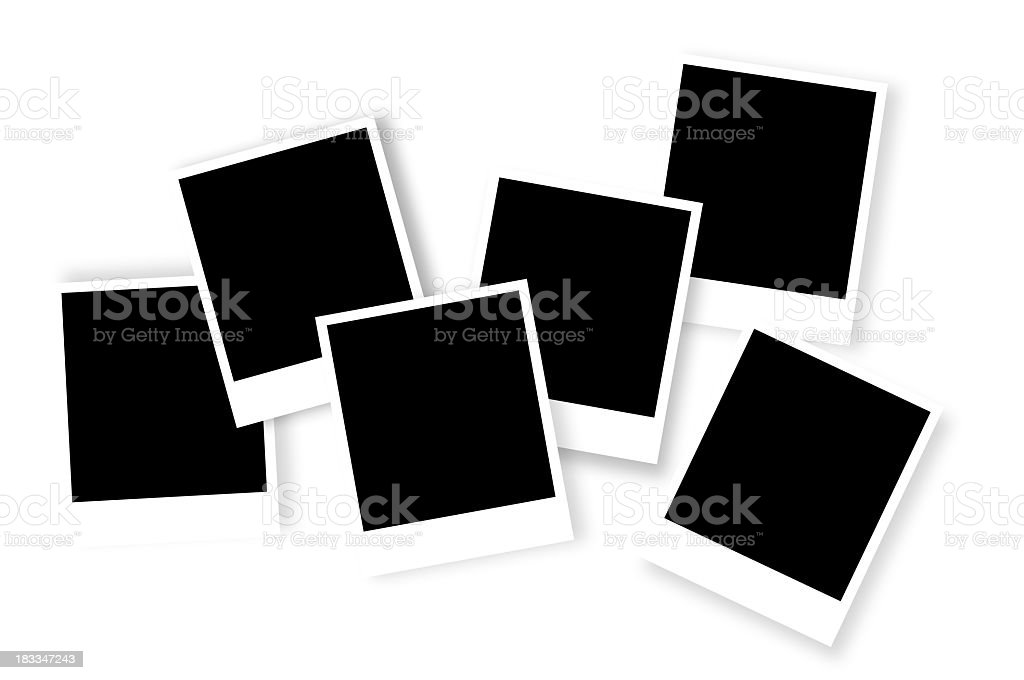 Six undeveloped Polaroid photo frames laid out royalty-free stock photo