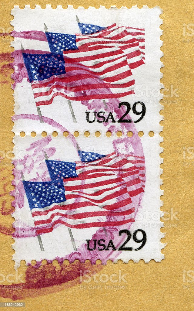 Six US Flags Postage Stamps royalty-free stock photo