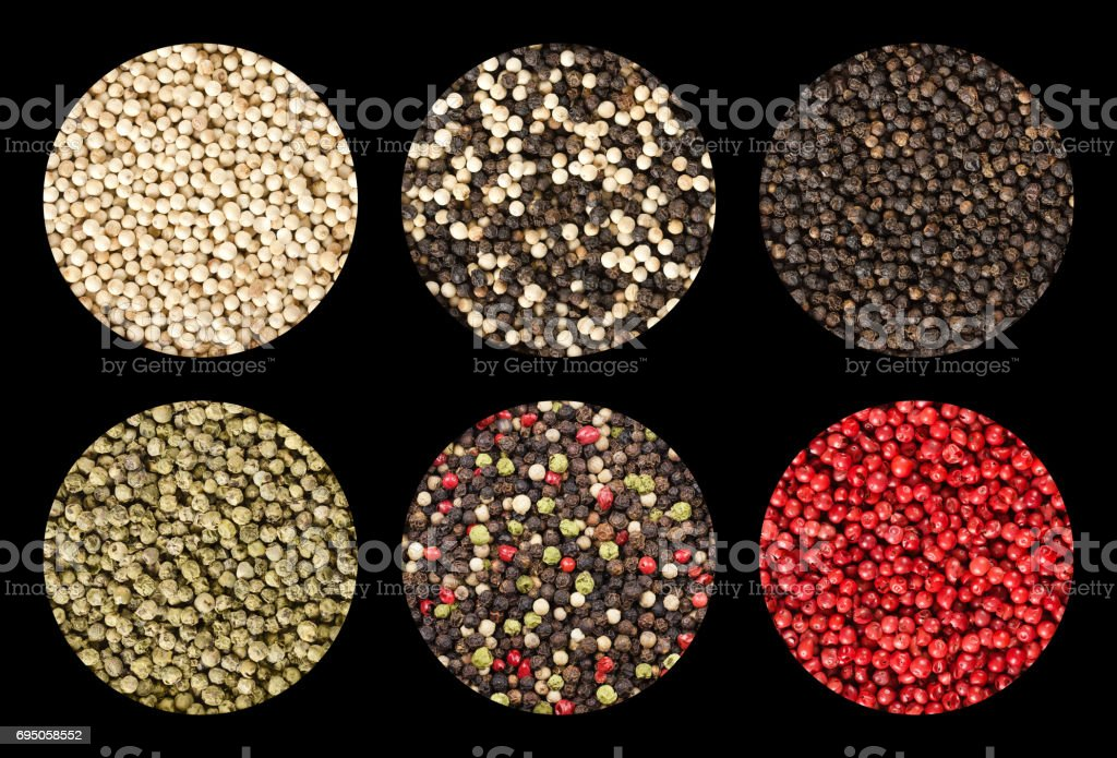Six variations of peppercorns in circles over black stock photo