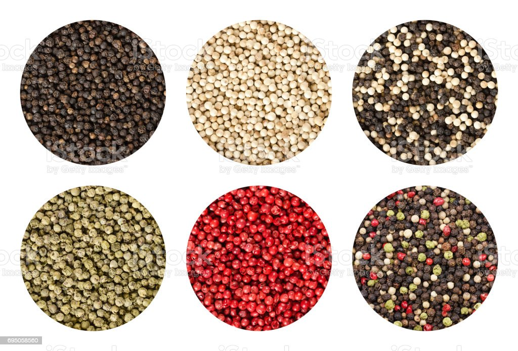 Six variations of peppercorns in circles over white stock photo