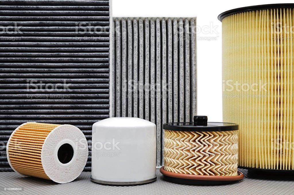 Six various car filters stock photo