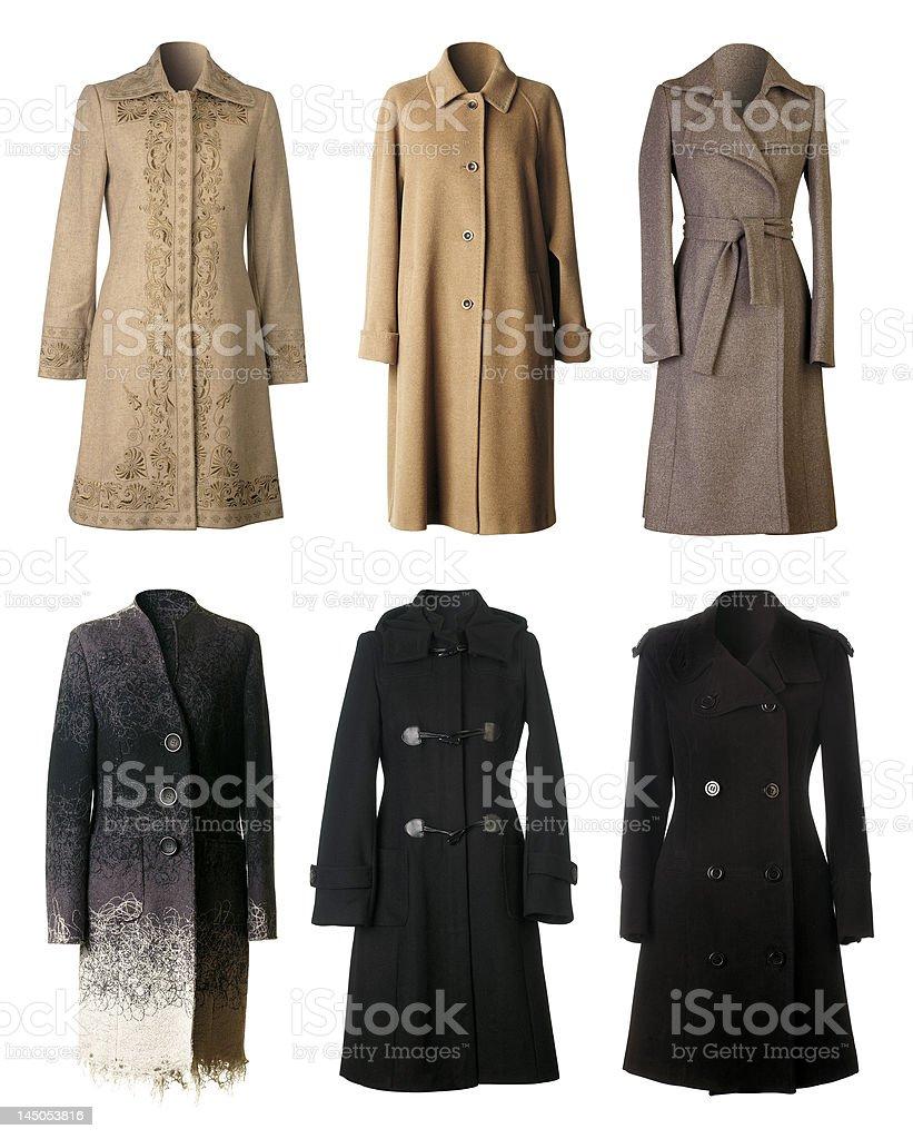 Six warm Winter coats cutout stock photo