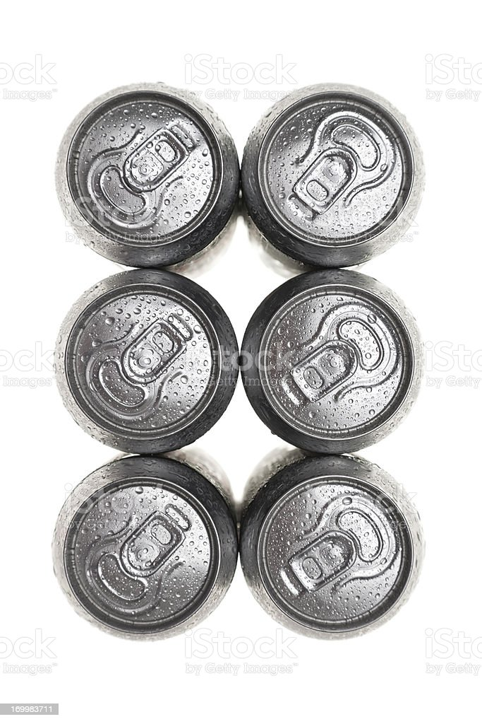 six wet aluminium drink cans stock photo