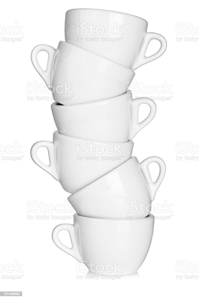 Six white coffee cups royalty-free stock photo