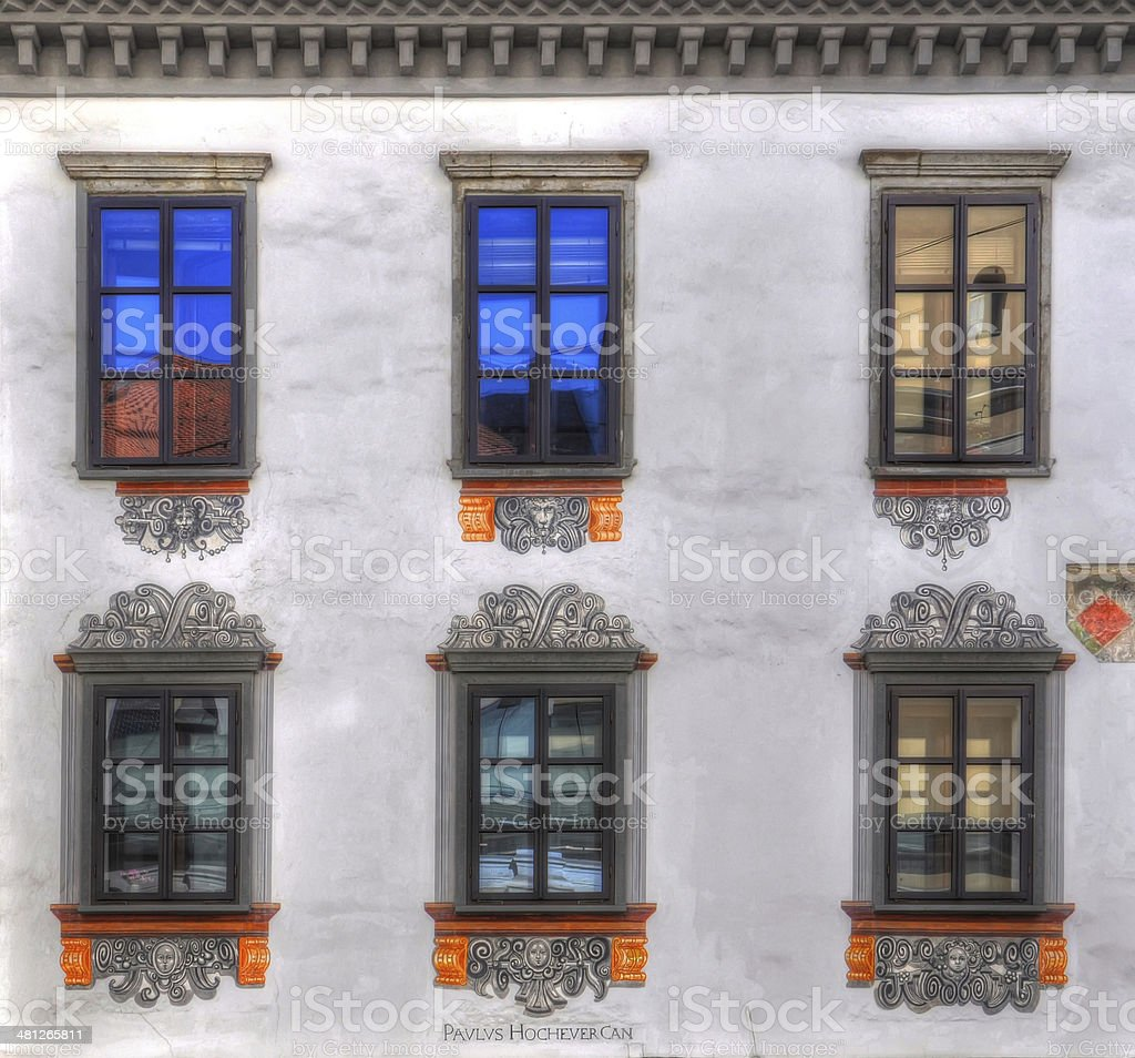Six windows in front view royalty-free stock photo
