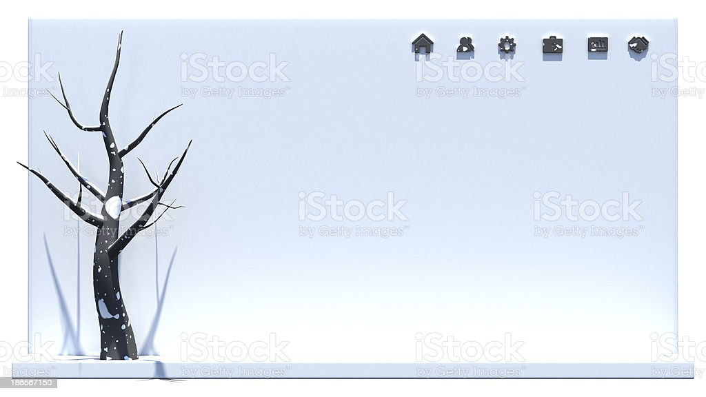 Six wooden web icons on concrete wall and tree royalty-free stock photo