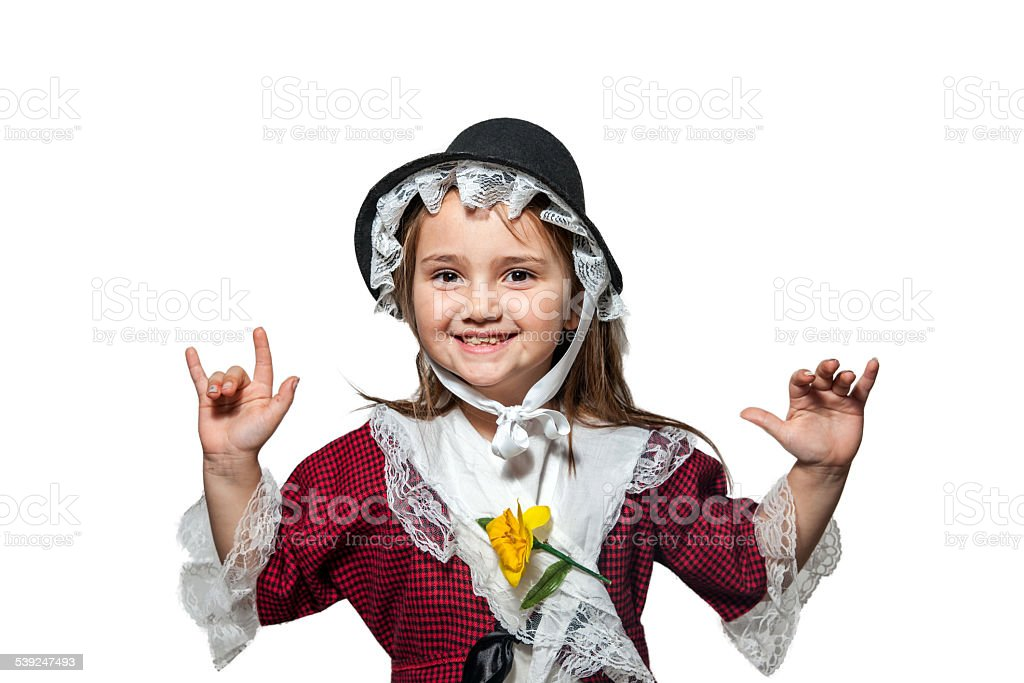 Six year old girl in traditional Welsh costume stock photo