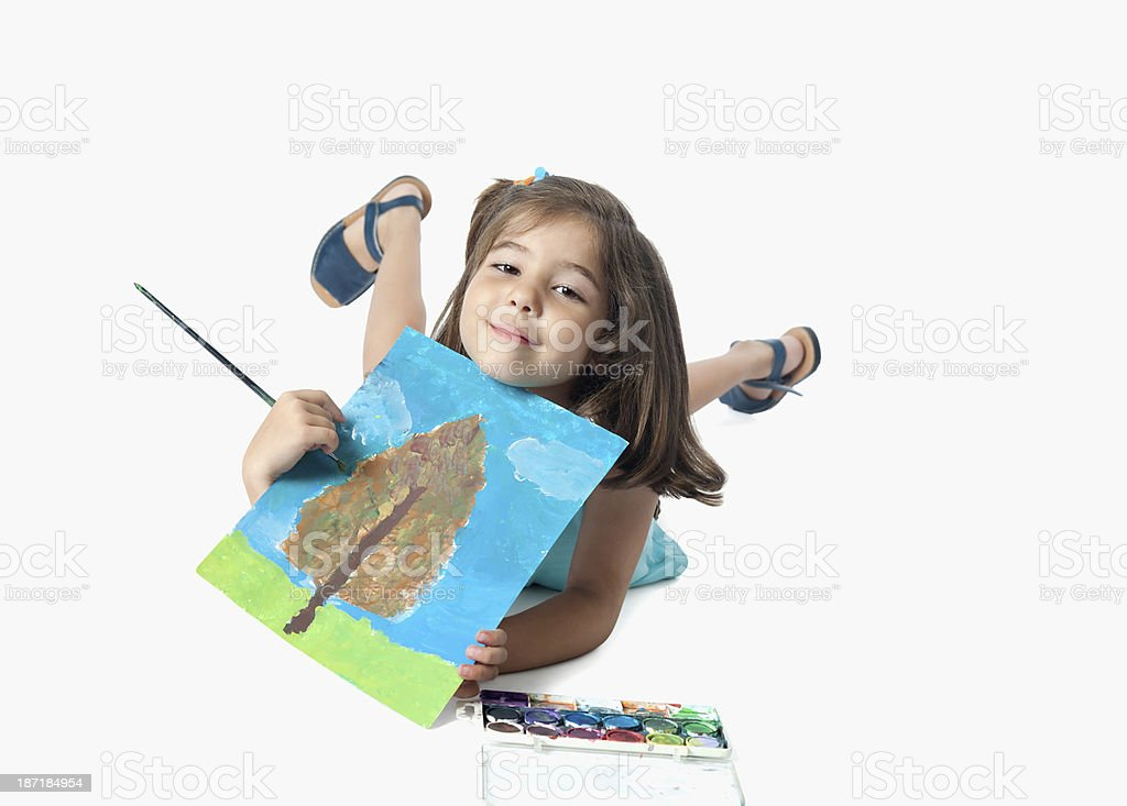 Six years old painter royalty-free stock photo