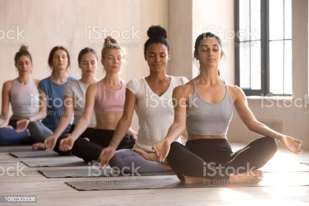 Zes Jonge Vrouwen Mediteren In Lotus Houding Zitten Stockfoto en meer beelden van Ademhalingsoefening