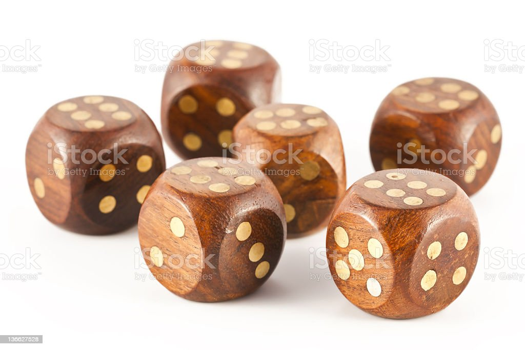 sixes on the dice royalty-free stock photo