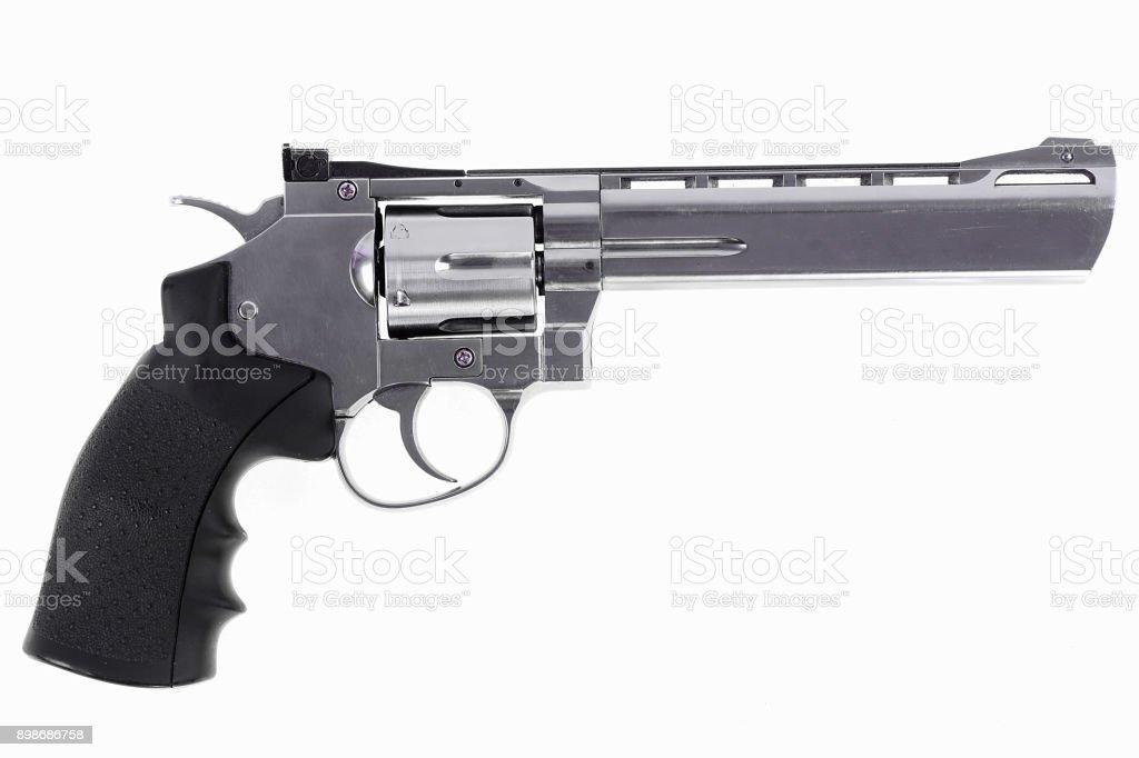 six-shot revolver on a white background stock photo