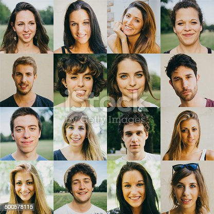Portraits of s16 young adults in a grid of four columns and four rows.  Eleven of the woman smile brightly for the camera, and five young men also pose for the camera.  The background of each portrait varies, with several portraits showing an outdoor, green background. Others pose in front of a stark white backdrop.