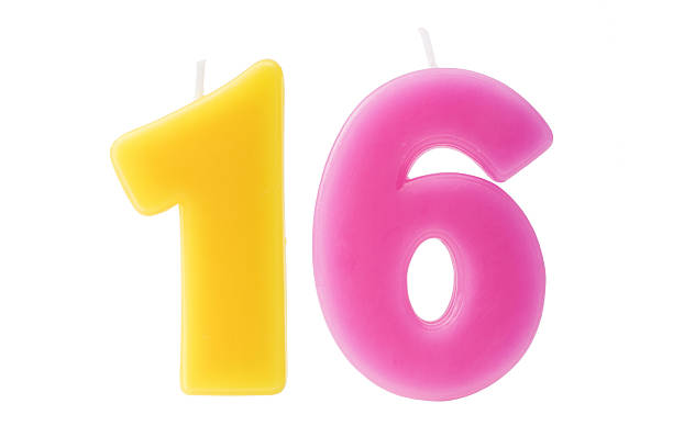 sixteenth birthday candles isolated - number 16 stock photos and pictures