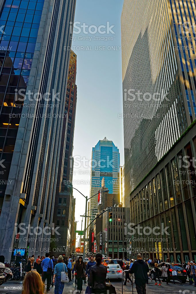 Sixth Avenue, and West 47th Street in Midtown Manhattan stock photo