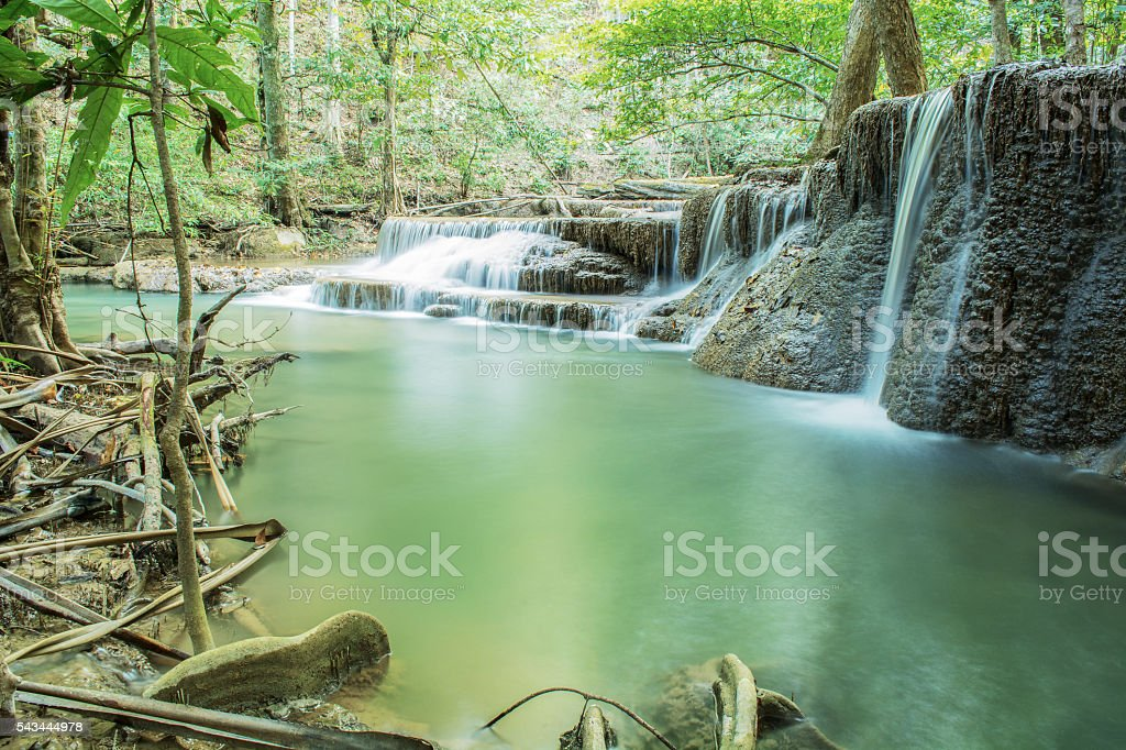 Sixth floor of Huay Mae Kamin Waterfall stock photo