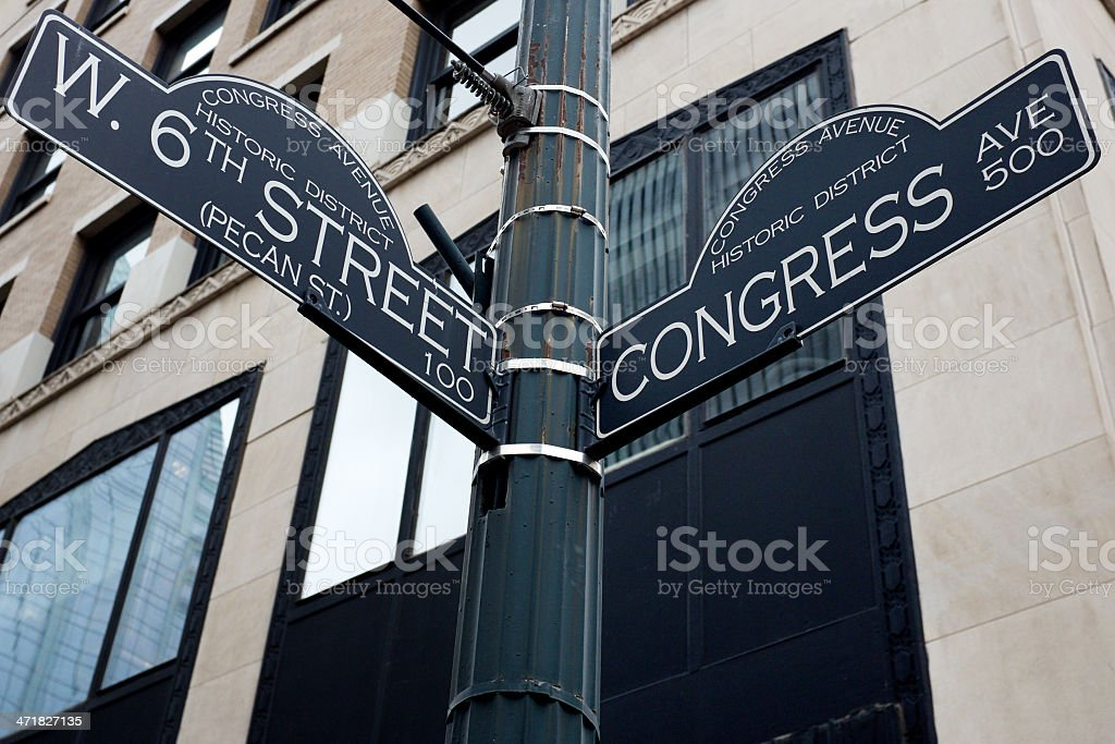 Sixth Street and Congress Ave. signs in Austin, Texas stock photo