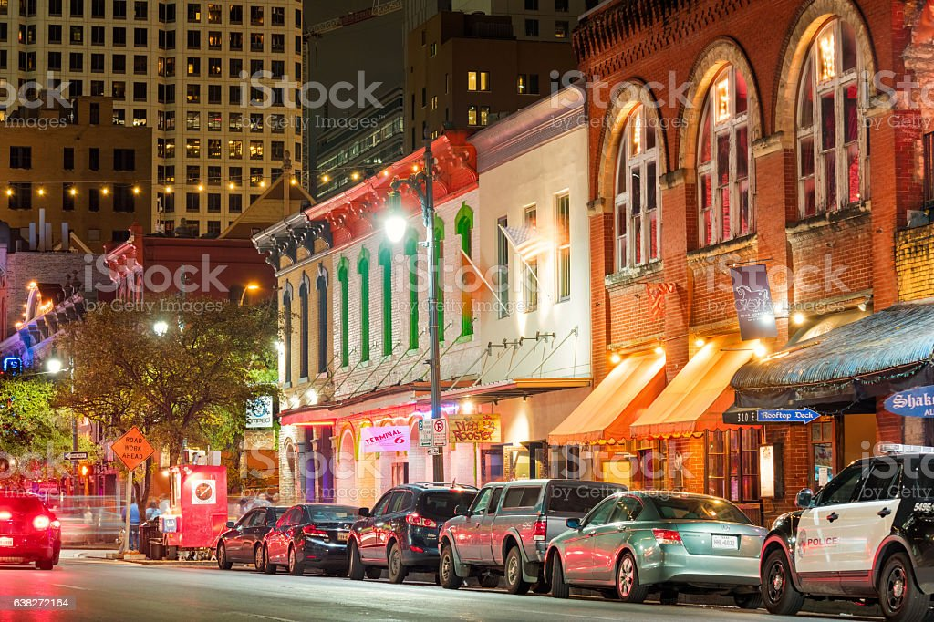 Sixth Street Entertainment District in Austin Texas USA stock photo