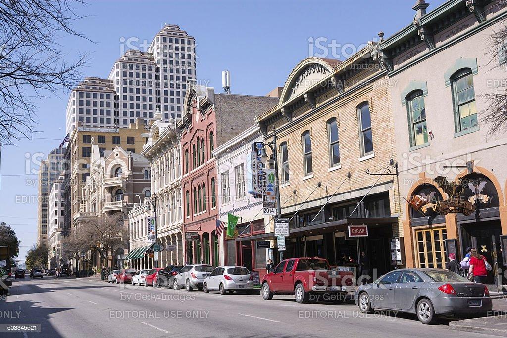 Sixth Street in downtown Austin, Texas stock photo