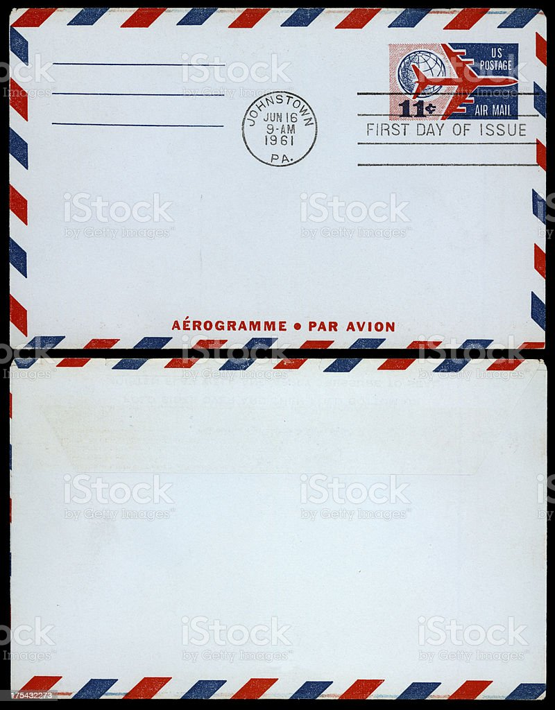 sixties air mail stock photo