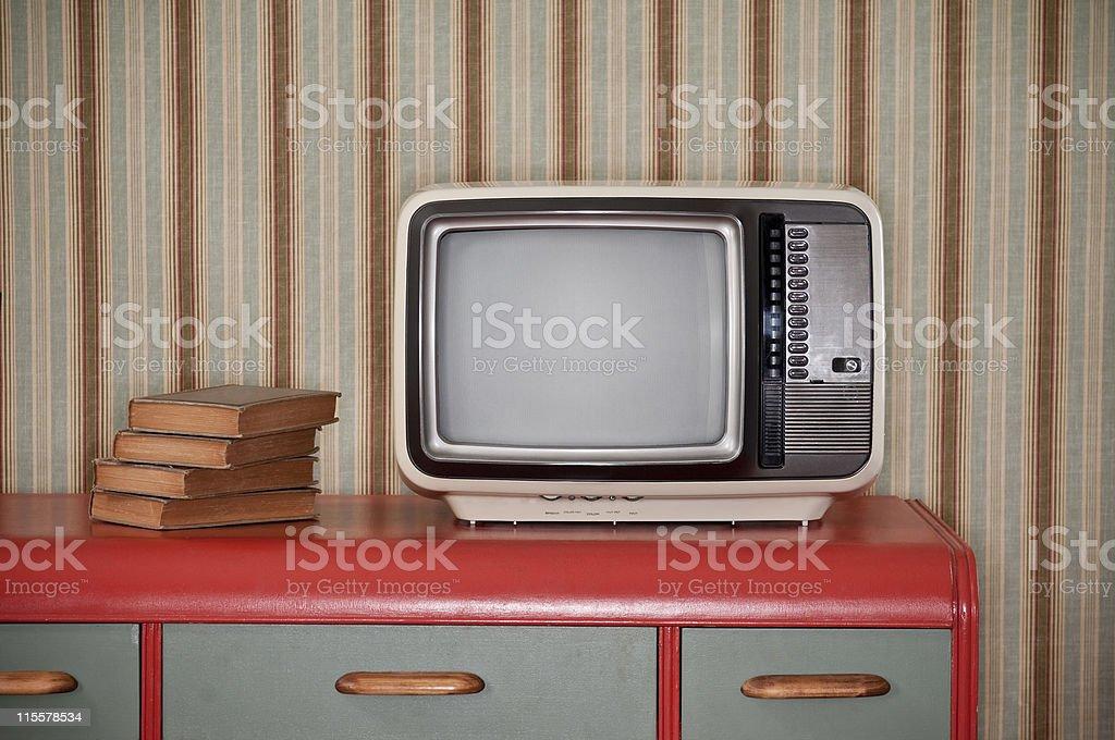 Sixties TV On Retro Desk stock photo