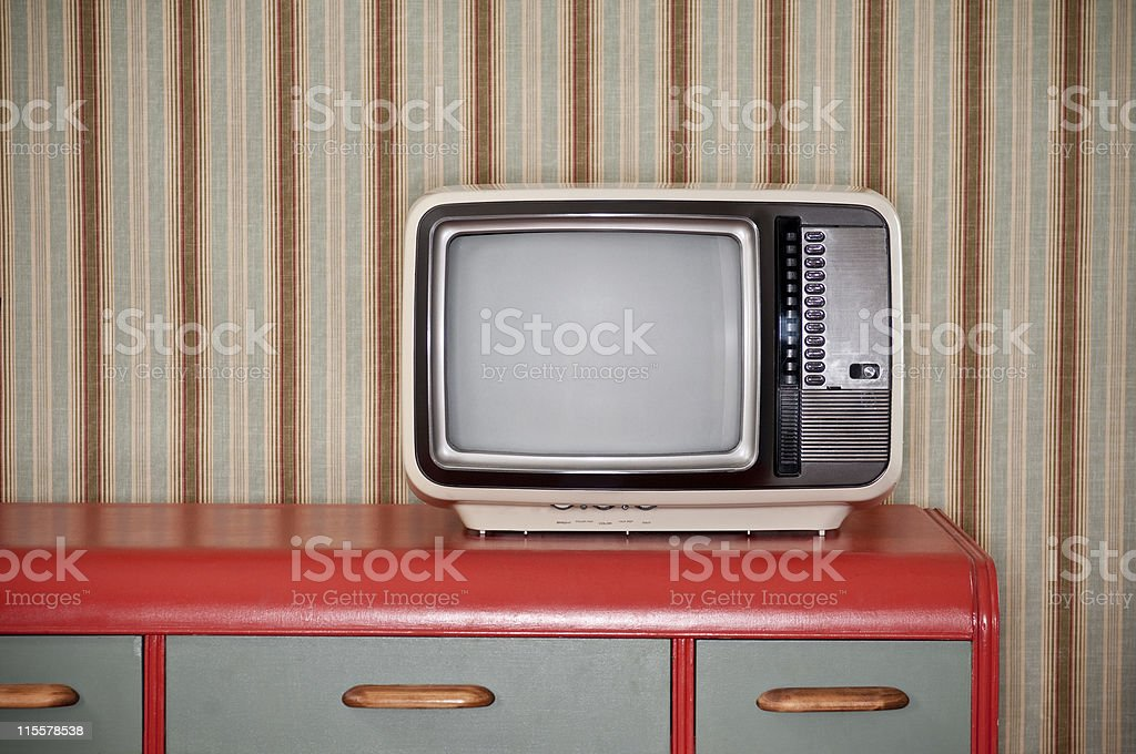 Sixties TV On Retro Desk stock photo