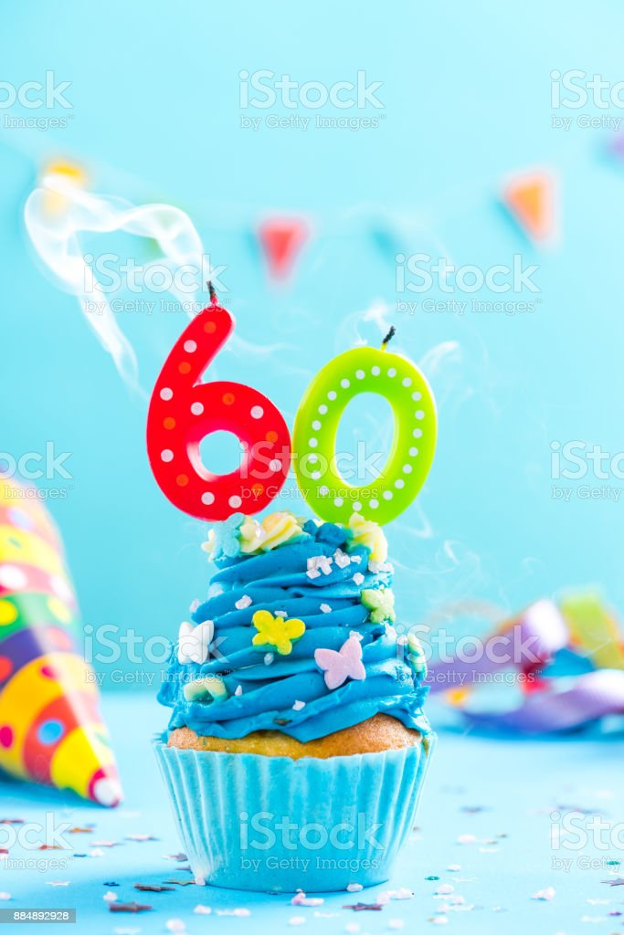 Sixtieth 60th birthday cupcake with candle blow out.Card mockup. stock photo