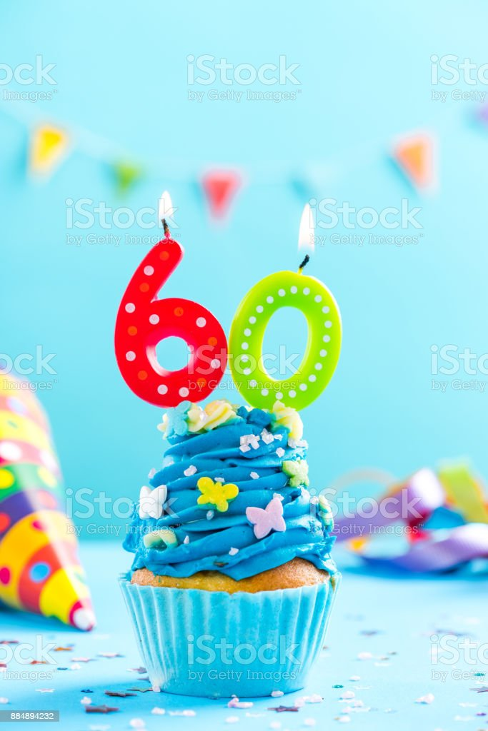 Sixtieth 60th birthday cupcake with candle. Card mockup. stock photo