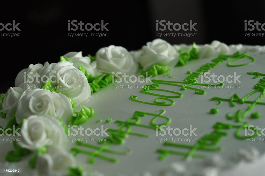 Sixtieth Anniversay Cake with Fondant Flowers stock photo