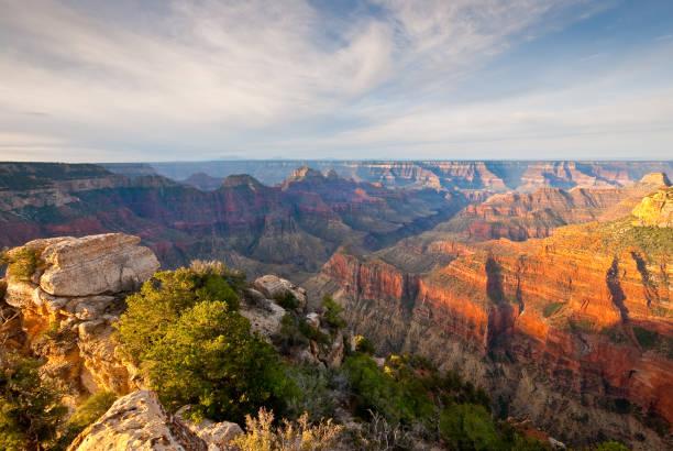 bright angel canyon bei sunrise - colorado plateau stock-fotos und bilder
