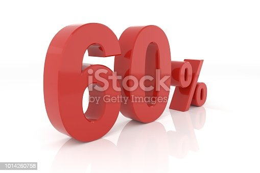 istock Sixty percent. 3D rendering. 1014260758