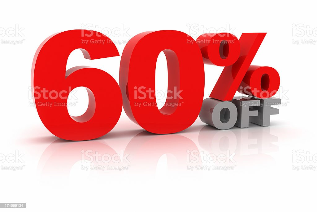 Sixty Percent Off royalty-free stock photo